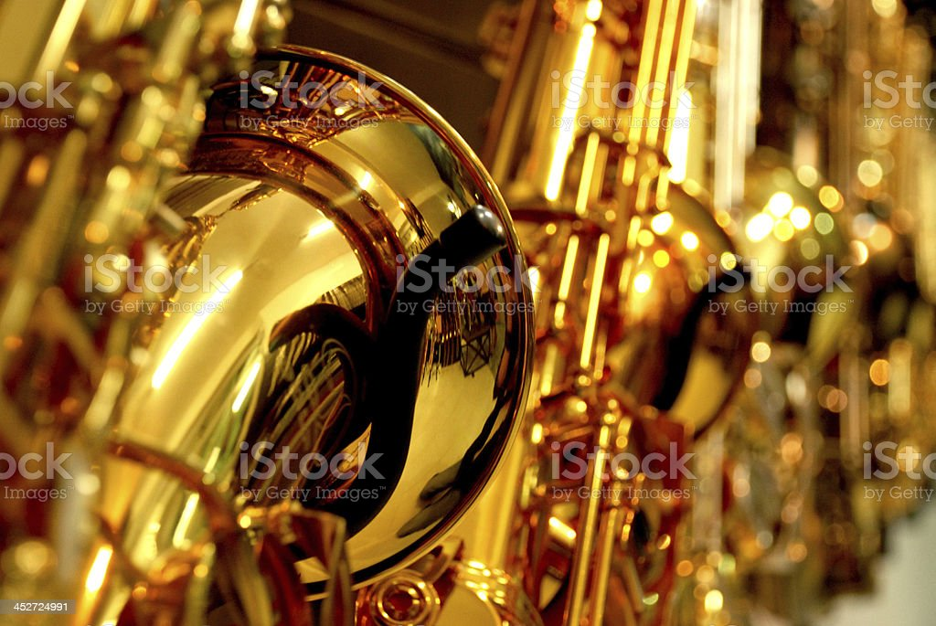 gold sax set up stock photo