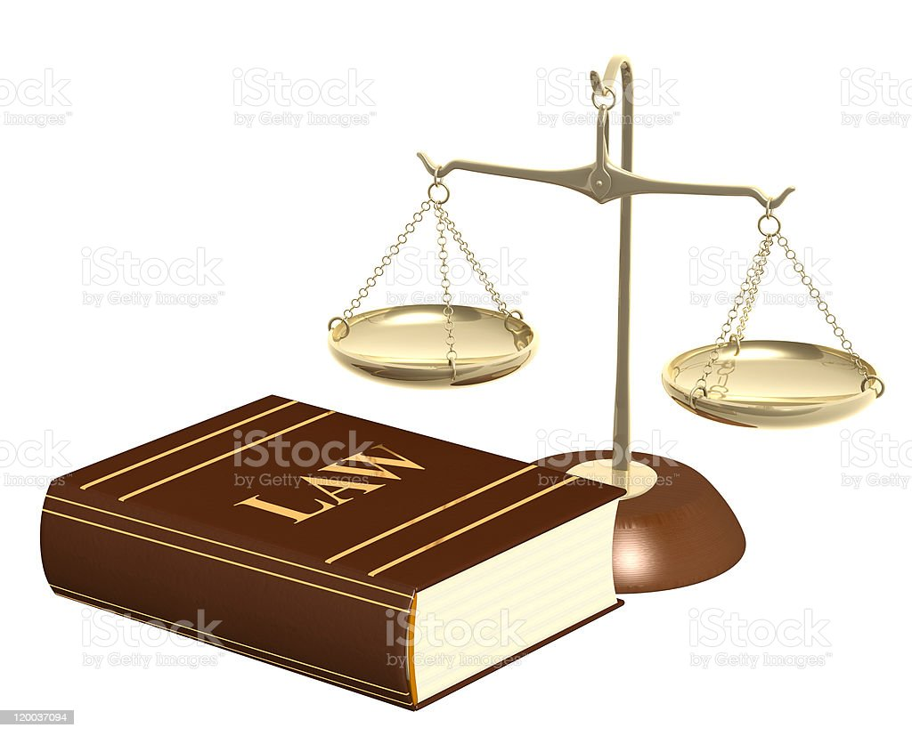 Gold scales and code of laws royalty-free stock photo