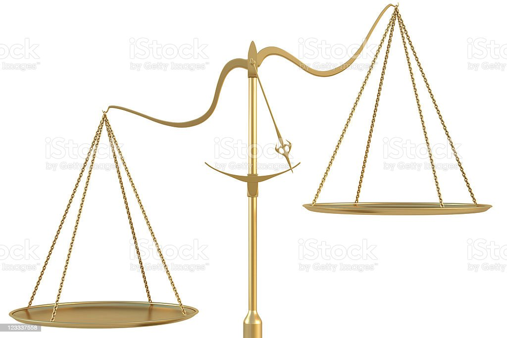 Gold scales on a white background stock photo