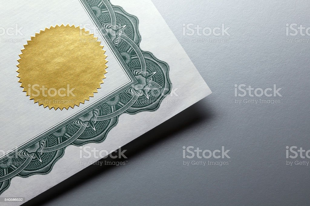 Gold Seal On A Certificate royalty-free stock photo