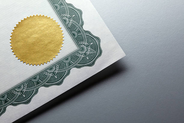 Gold Seal On A Certificate stock photo