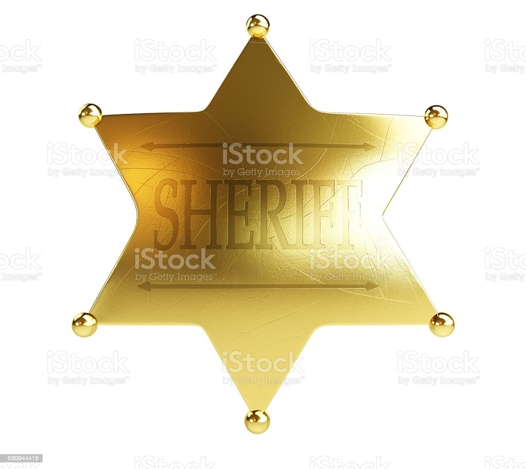 gold sheriff's badge on a white background stock photo