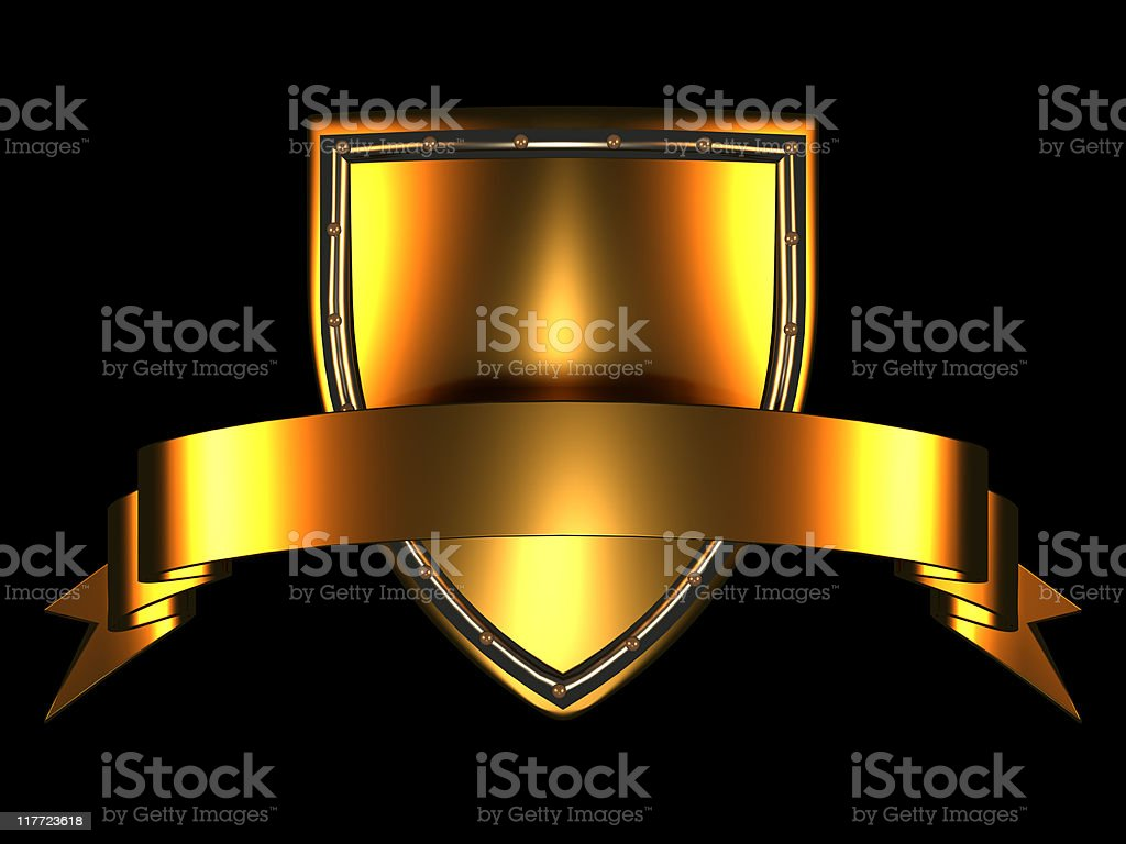Gold Shield and Banner on black background royalty-free stock photo