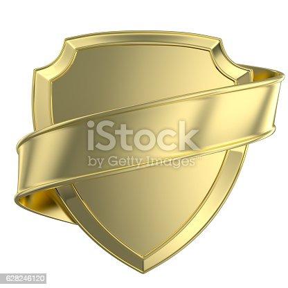 istock gold shield and ribbon 628246120
