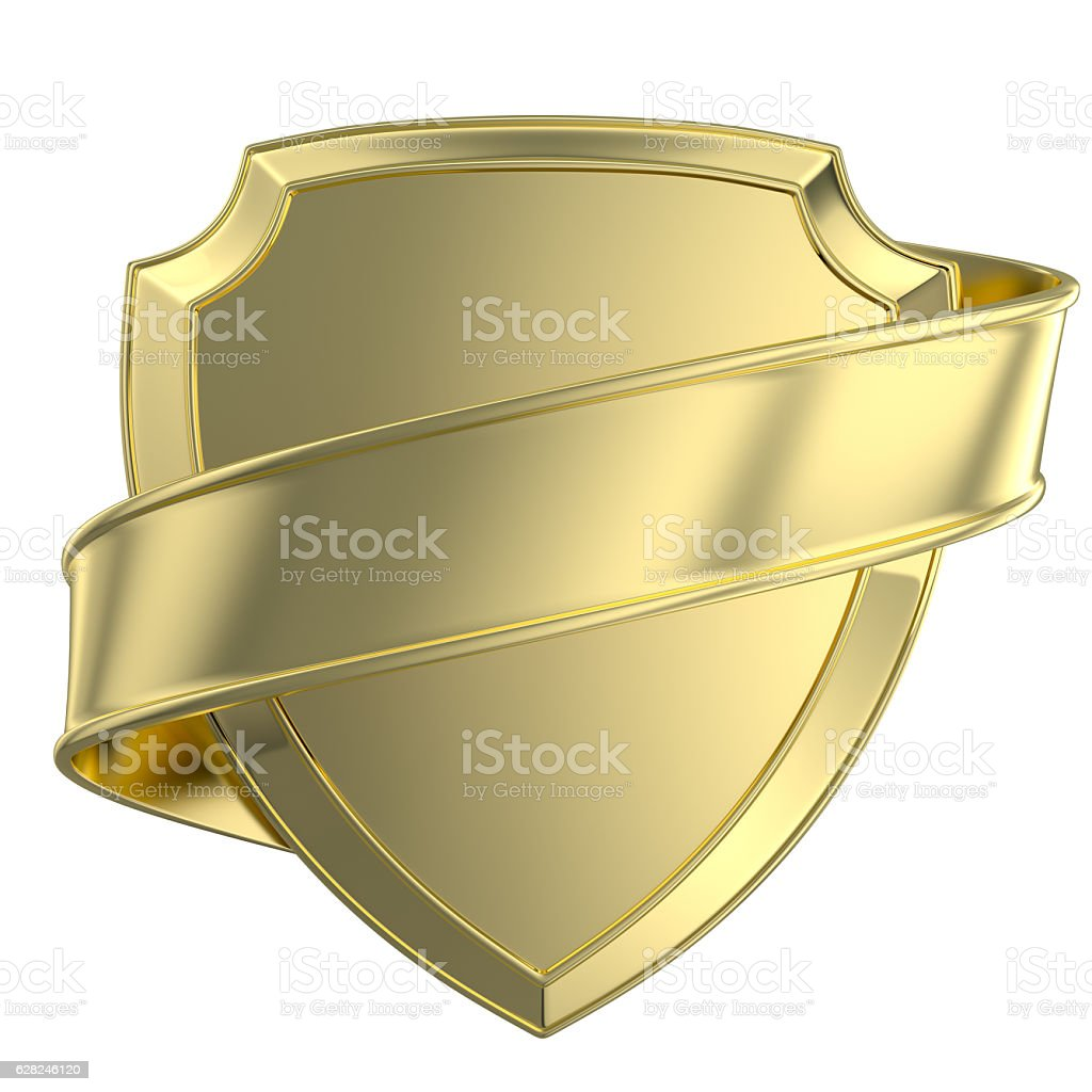 gold shield and ribbon stock photo