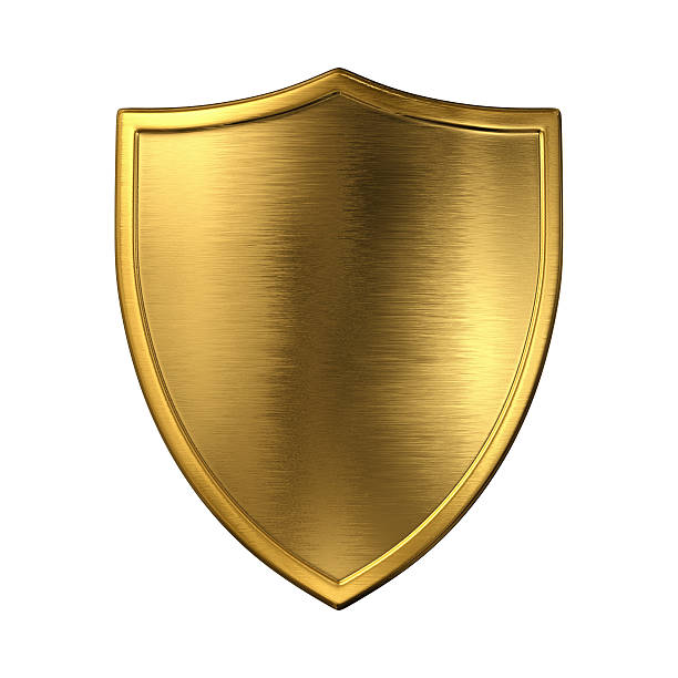Gold shield Gold shield. Isolated on white. 3D render. insignia stock pictures, royalty-free photos & images