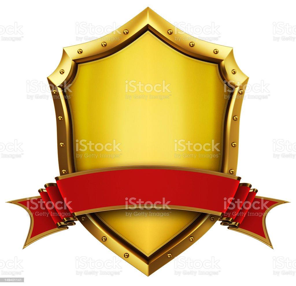 Gold shield royalty-free stock photo