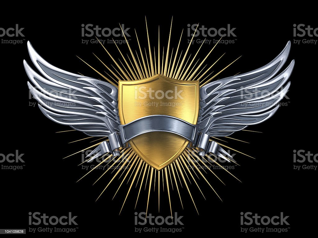 Gold shield with silver wings and ribbon stock photo
