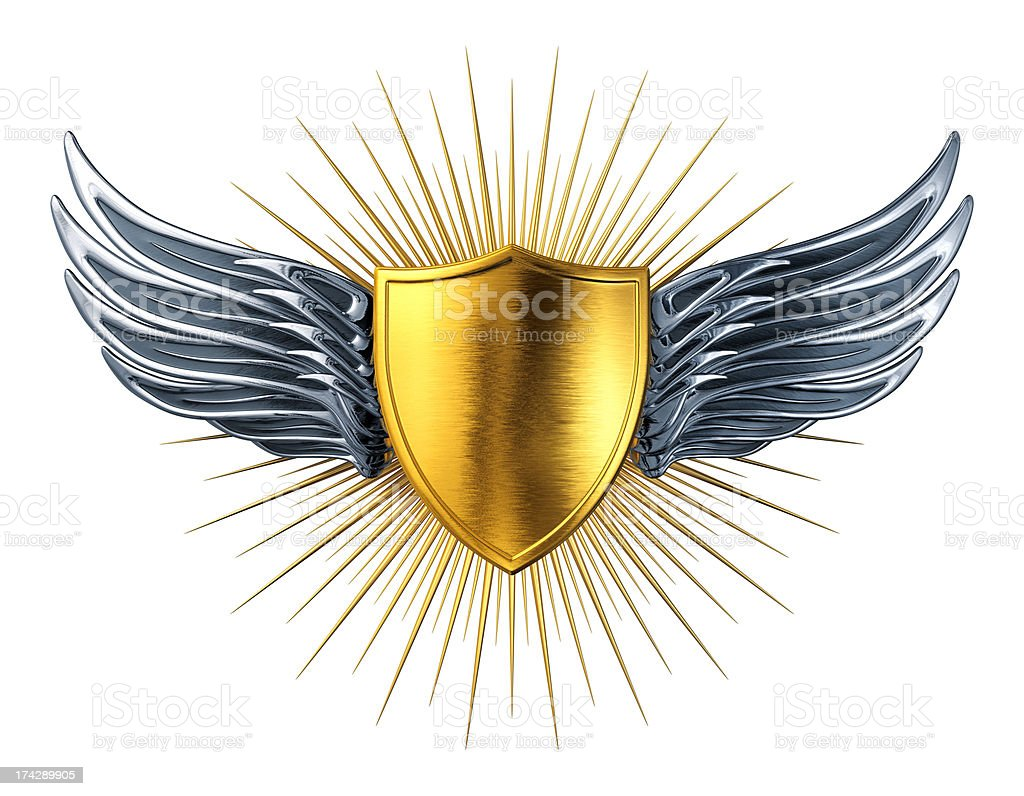 Gold Shield With Silver Wings stock photo
