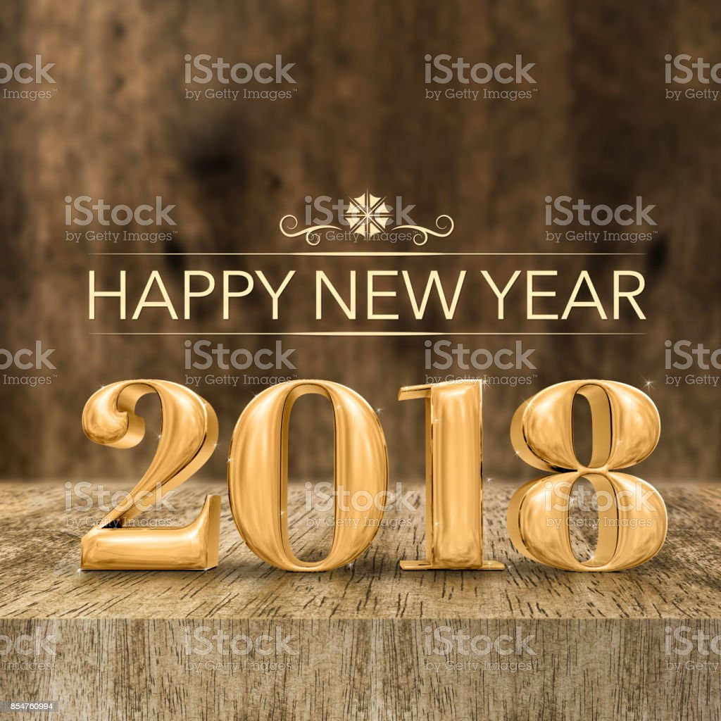 Gold shiny Happy New year 2018 3d rendering at wooden block table and blur wood wall,Holiday greeting card for social media. stock photo