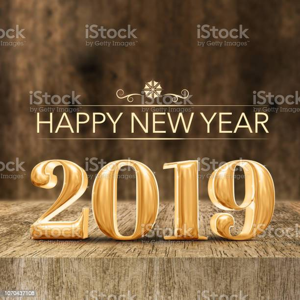 Gold shiny happy new year 2019 3d rendering at wooden block table and picture id1070437108?b=1&k=6&m=1070437108&s=612x612&h=aw75yqid3zzmtcu51 q5g mh3ddajt7wwkpfc80bhts=