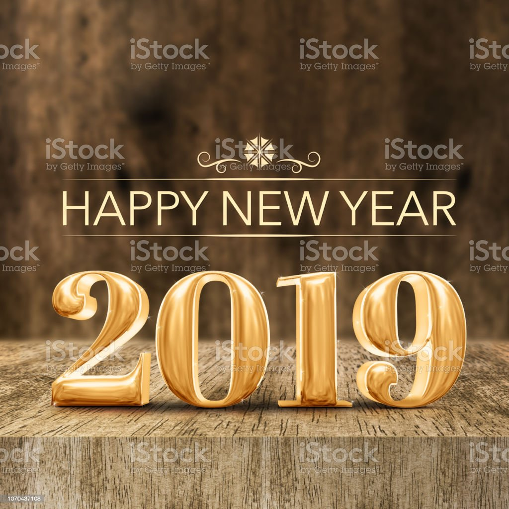 Ouro brilhante feliz ano novo 2019 renderização 3d em madeira bloquear a tabela e borrão de madeira da parede, feriado saudação cartão de mídia social. - foto de acervo