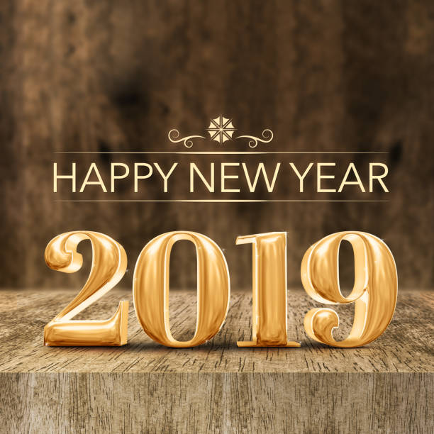 gold shiny happy new year 2019 3d rendering at wooden block table and blur wood wall,holiday greeting card for social media. - 2019 foto e immagini stock