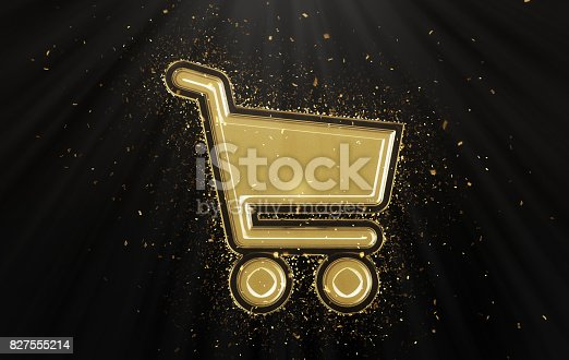 istock Gold Shopping Cart 827555214
