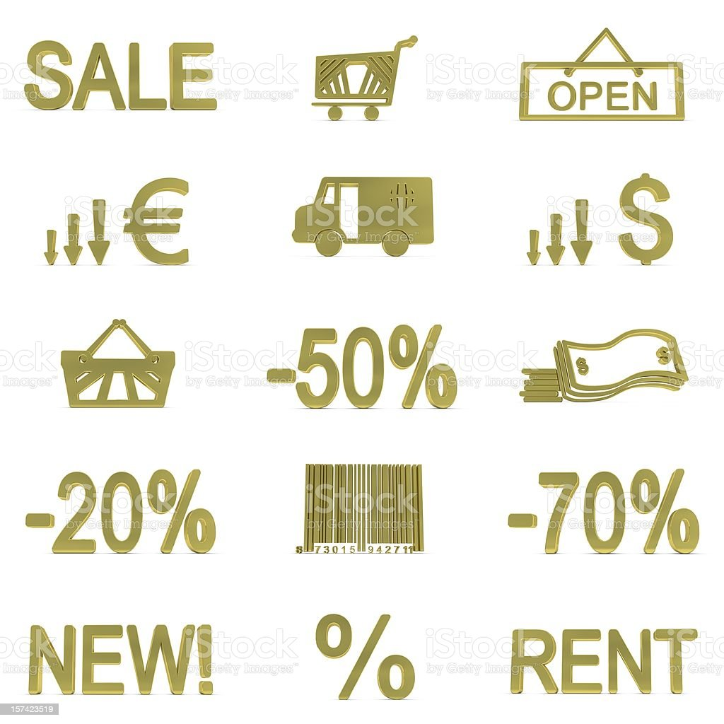 Gold Shopping Icons royalty-free stock photo