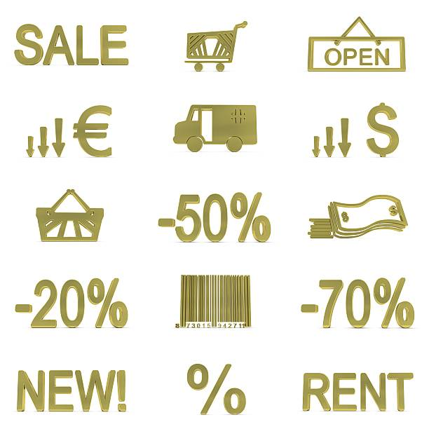 Gold Shopping Icons stock photo