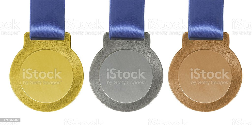 Gold silver and Bronze medals royalty-free stock photo