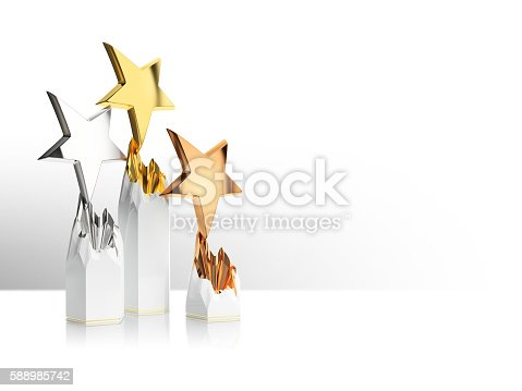 istock gold, silver and bronze star award 588985742
