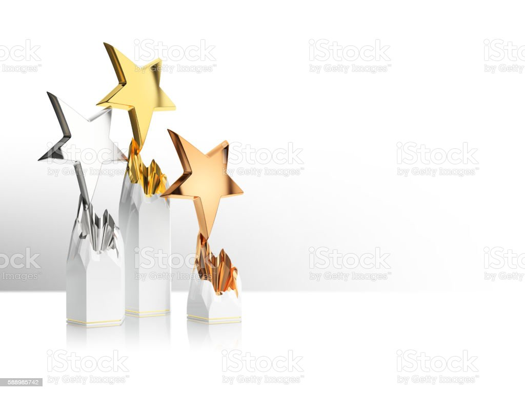 gold, silver and bronze star award 스톡 사진