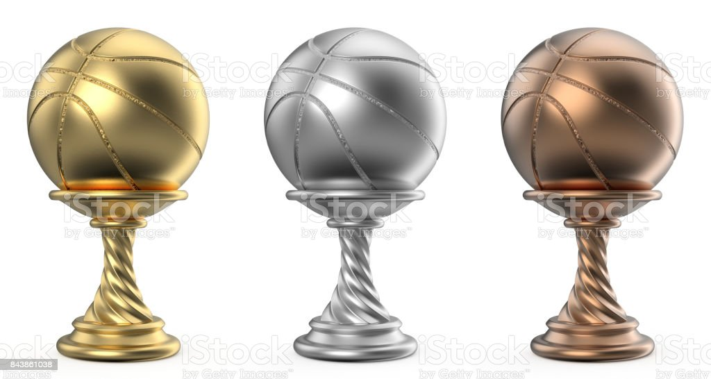 Gold, silver and bronze trophy cup BASKETBALL 3D stock photo