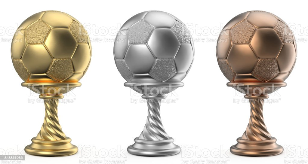 Gold, silver and bronze trophy cup SOCCER FOOTBALL 3D stock photo