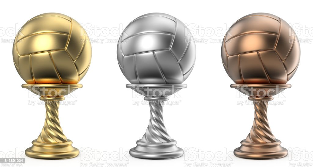 Gold, silver and bronze trophy cup VOLLEYBALL 3D stock photo