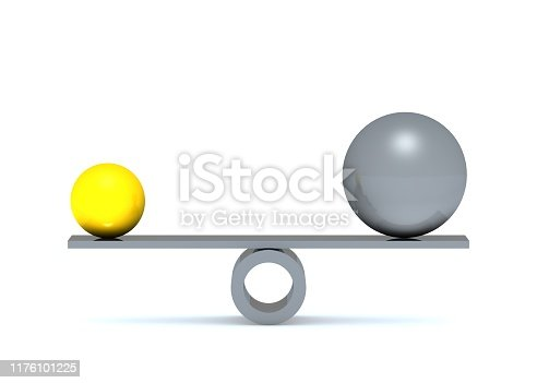 950775710 istock photo Gold Silver balls on a scale balance 1176101225