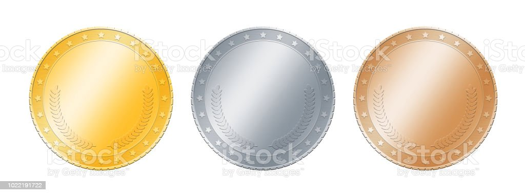 Gold, silver, bronze coins or medals over white stock photo