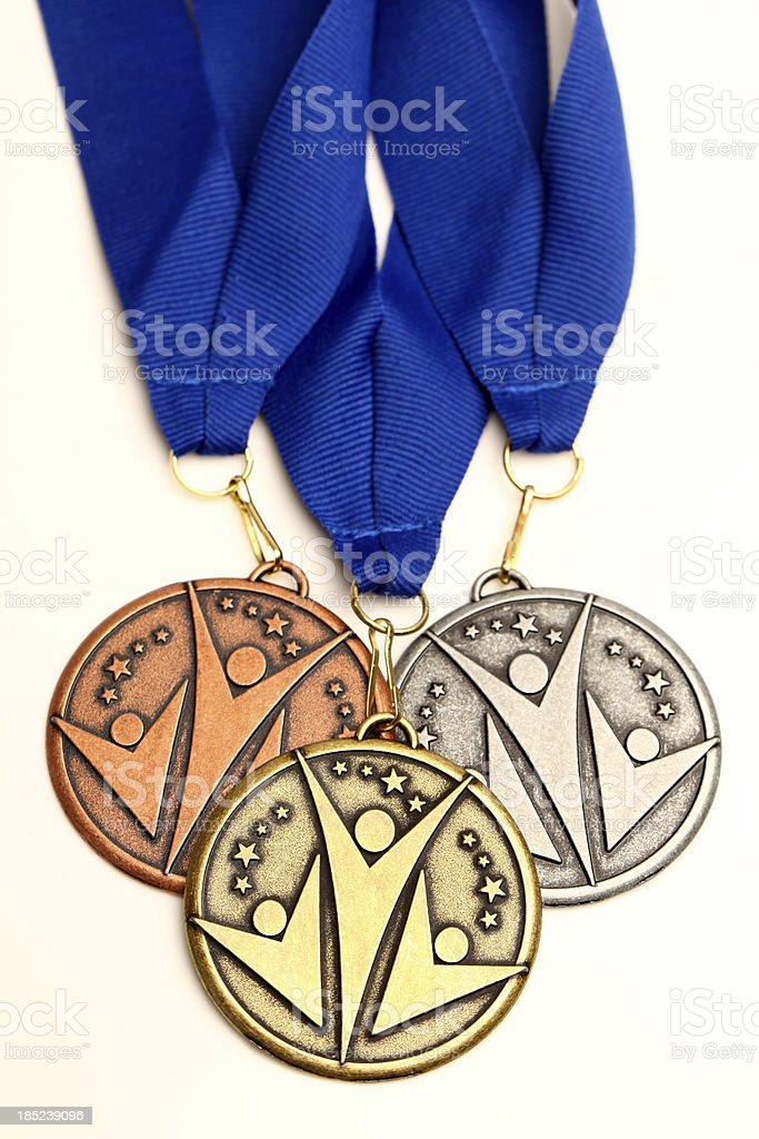Gold silver bronze medals stock photo