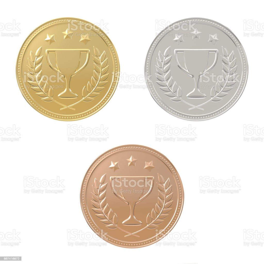 Gold, silver, bronze medals set stock photo