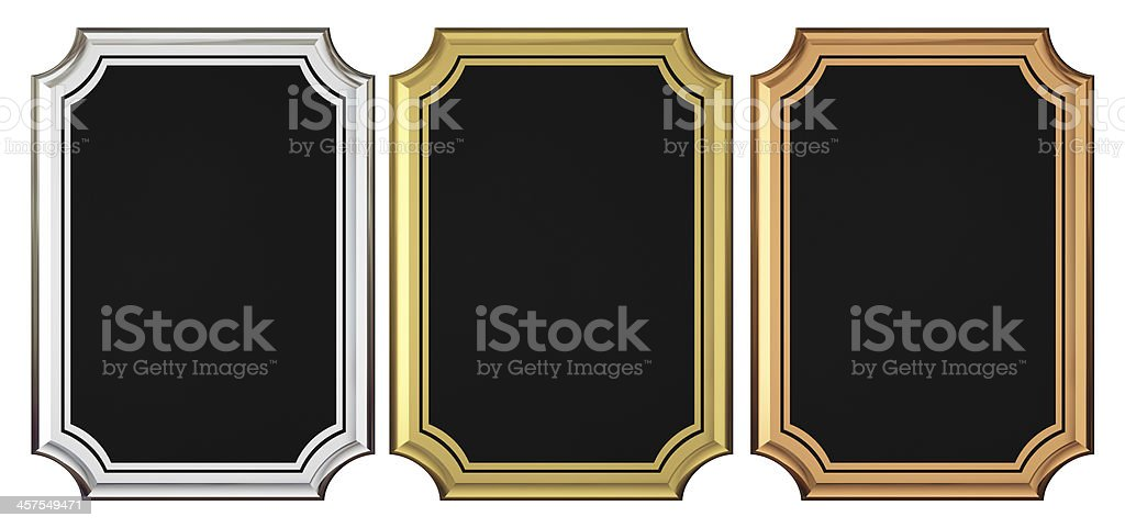 Gold Silver Bronze Plaque Collection stock photo