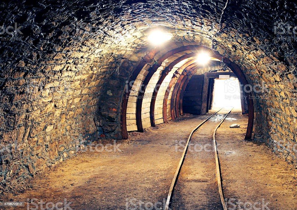 Gold, silver, copper mine stock photo
