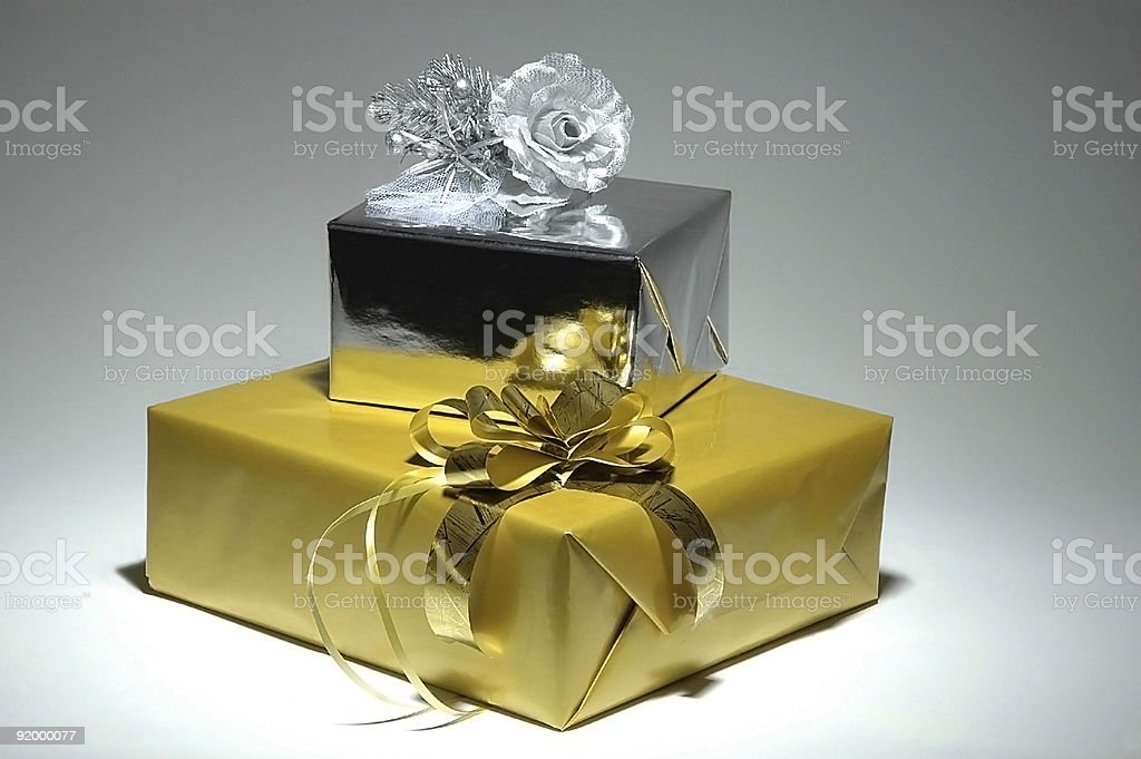 Gold & Silver Gift Box Series royalty-free stock photo