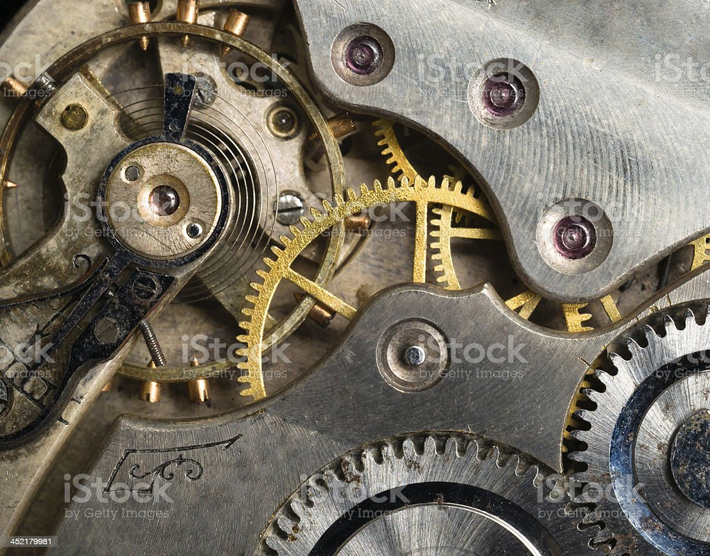 Gold Silver Precision Antique Vintage Pocket Watch Bodies Parts Gears stock photo