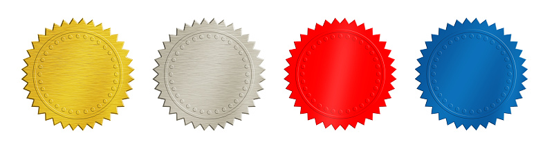 istock Gold, silver, red and blue coins or medals 1022191718