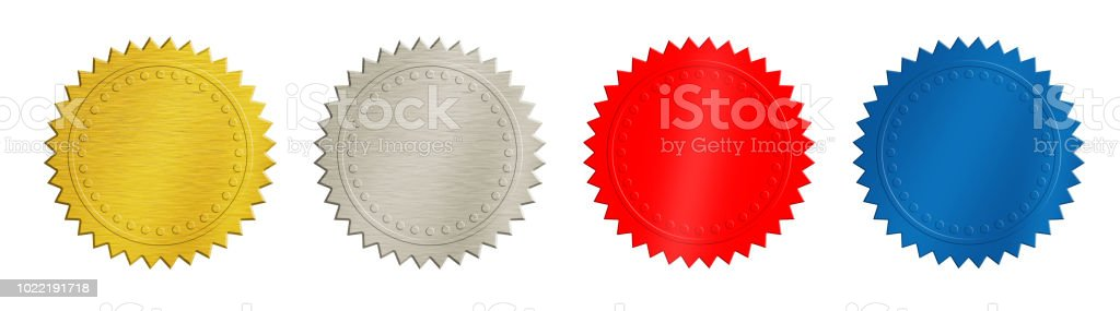 Gold, silver, red and blue coins or medals stock photo
