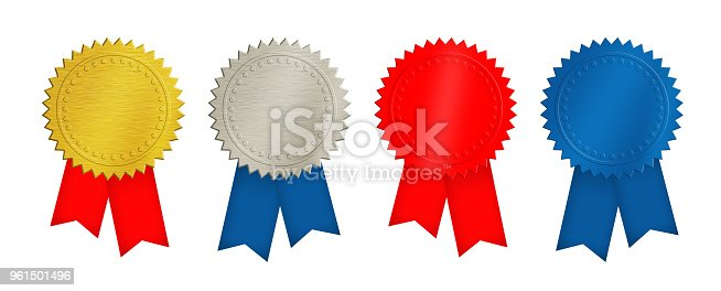 istock Gold, silver, red and blue coins or medals 961501496