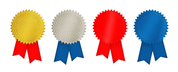 gold, silver, red and blue coins or medals - award ribbon stock photos and pictures