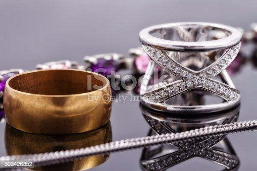 istock Gold, silver rings and chains 503426352