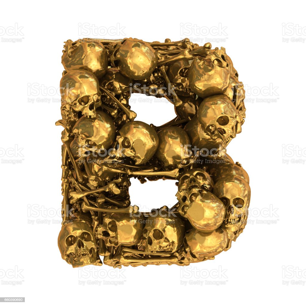 Gold Skull And Bones Font Stock Photo More Pictures Of Alphabet