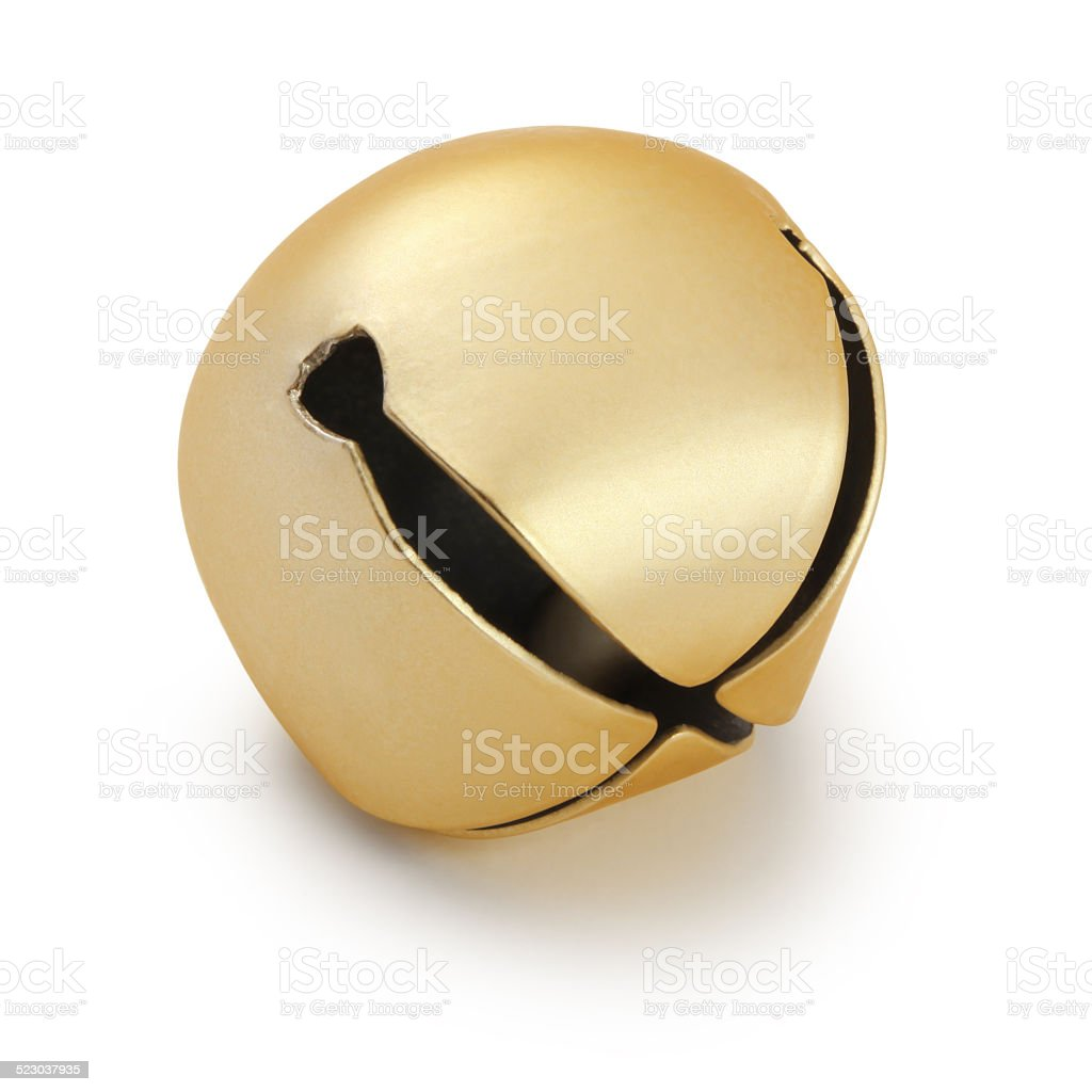 Gold Sleigh Bell (with path) stock photo