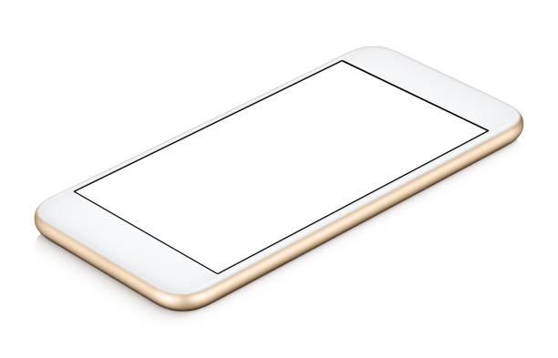 Maquette smartphone or CW rotation se trouve sur la surface avec écran blanc isolé sur blanc - Photo