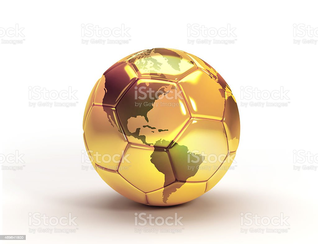 Gold soccer ball trophy stock photo