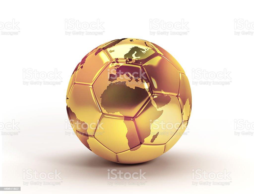 Trofeo de oro pelota de fútbol - foto de stock