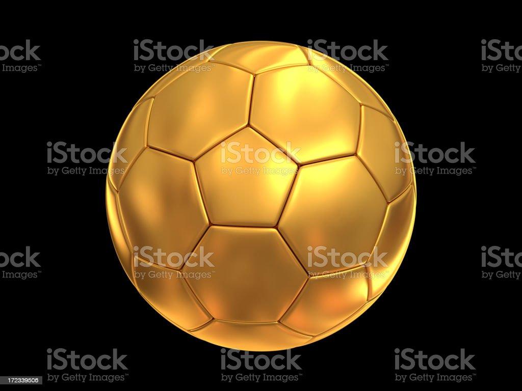 Bola de futebol dourada com trilhas de recorte - foto de acervo