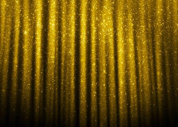 ゴールドの輝くグリッターのカーテン - glitter curtain ストックフォトと画像