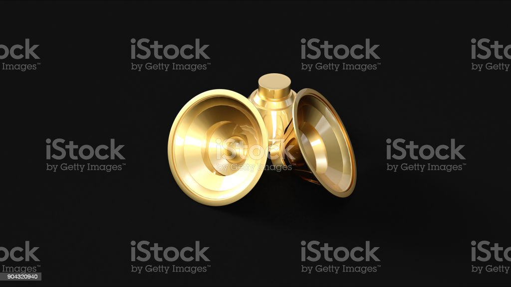 Gold Speakers stock photo