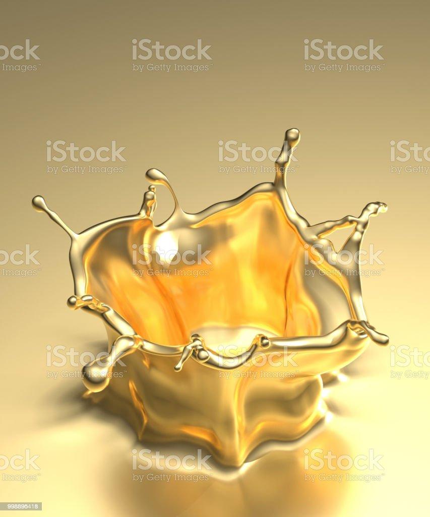 Gold splash on black background. 3d rendering. stock photo