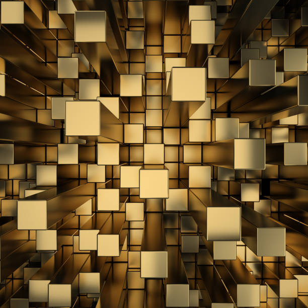 Cтоковое фото gold squares extruded background
