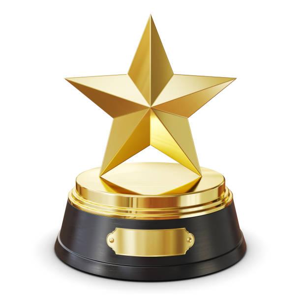 Gold star Award. Isoliert auf weißem Hintergrund 3d – Foto